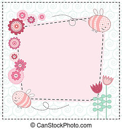 Lovely flowers and the cute bees - Vector card with lovely...