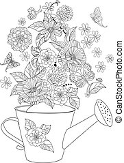 lovely flowers arrangement in watering can for your coloring...