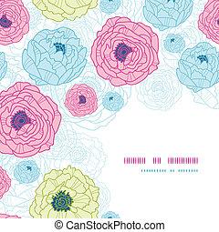 Lovely flowers corner seamless pattern background
