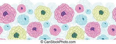 Lovely flowers horizontal seamless pattern background border