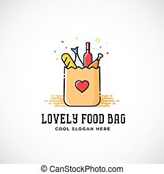 Lovely Food Paper Bag with Heart Symbol, Bread, Wine, Fish, etc. Abstract Vector Logo Template. Shopping or Delivery Sign. Catering Icon.