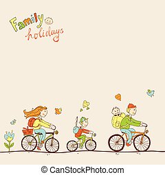 Lovely friendly family with two children traveling by bike, a fa