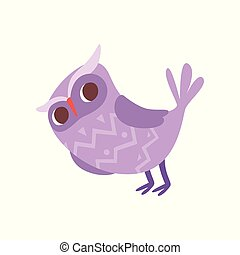Lovely funny cartoon purple owlet bird character vector...