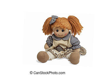 Isolated sweet doll sitting at white background. Soft children toy