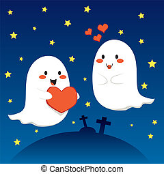 Lovely Ghosts - Ghost couple in love at the cemetery on...