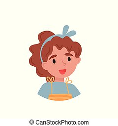 Lovely girl, avatar of cute little curly girl vector Illustration on a white background