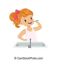 Lovely girl brushing her teeth, kid caring for teeth in bathroom vector Illustration on a white background