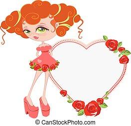 Lovely girl. Card  Valentines Day