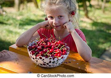 lovely girl eating fruit