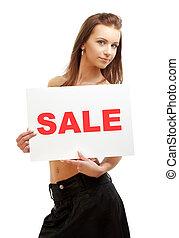 lovely girl holding sale word board