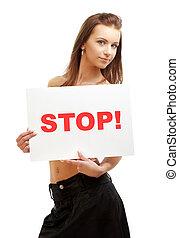 lovely girl holding stop board