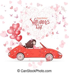 lovely girl in a car with red heart air balloons. happy...