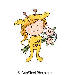 Lovely girl in a giraffe costume with a bouquet of flowers.