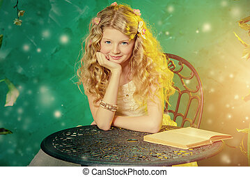 Lovely girl in a lush white dress reading fairy tales under a floral arch over green background.