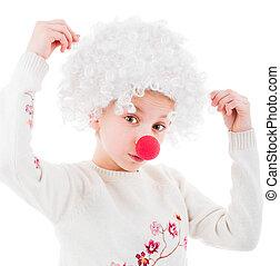 Lovely girl in white clown wig