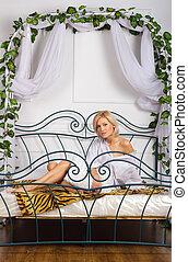 lovely girl on the bed
