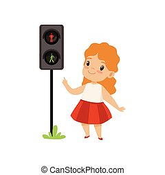 Lovely Girl Pointing Finger at Pedestrian Traffic Light, Traffic Education, Rules, Safety of Kids in Traffic Vector Illustration