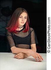 Lovely girl posing in studio