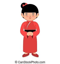 lovely girl red kimono japanese icon graphic