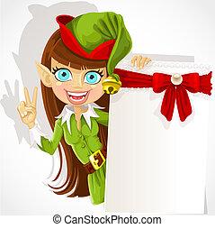 Lovely girl the Christmas elf