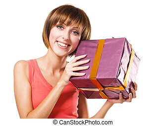 Lovely girl with a gift box