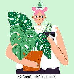 Lovely girl with a lot of house plants, plant lady, cartoon vector illustration