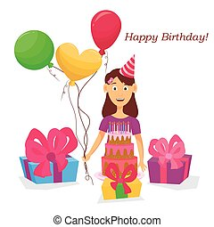 Lovely girl with birthday cake, balls, gifts. Vector