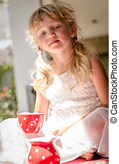 lovely girl with cup of tea
