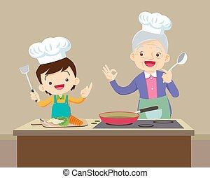 lovely grandmother and child boy cooking in kitchen