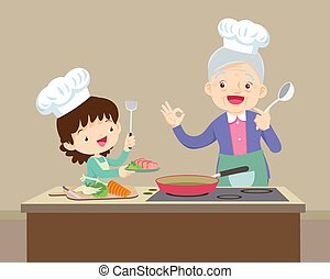 lovely grandmother and child girl cooking in kitchen