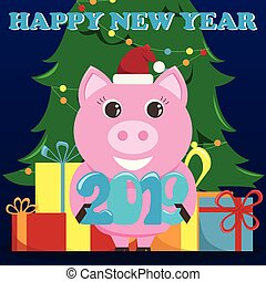 Lovely greeting card for the New Year 2019 with a pig and a Christmas tree.
