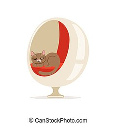 Lovely grey cat sleeping on a modern ball chair home pet resting vector Illustration
