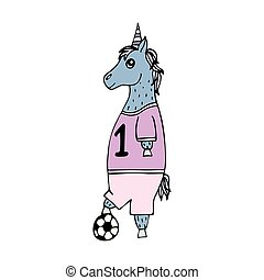 Lovely hand-drawn unicorn-football player with a ball.