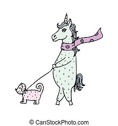 Lovely hand-drawn unicorn-girl in a scarf walking with a dog on a lead.