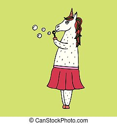 Lovely hand-drawn unicorn-girl with soap bubbles.
