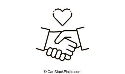 Lovely Handshake Icon Animation. black Lovely Handshake animated icon on white background