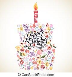 Happy birthday calligraphy poster design - lovely Happy...