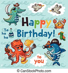 Lovely happy birthday card with pirates. Vector illustration