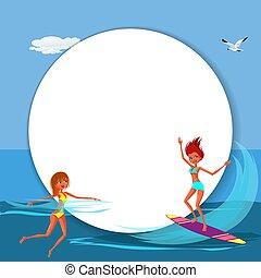Lovely happy cartoon girl surfing in blue ocean