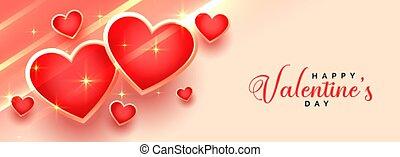 lovely happy valentines day shiny hearts banner