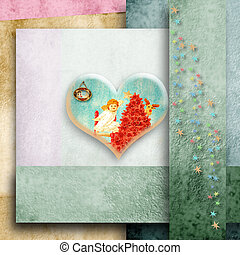lovely heart and Angel Christmas greeting card