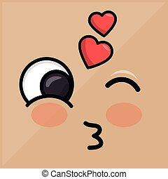 lovely heart emoticon winking eyes