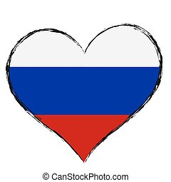 lovely heart with russian colors