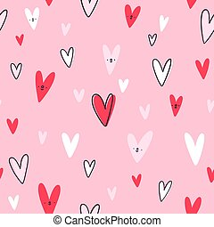 Lovely hearts vector seamless pattern