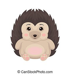 Lovely hedgehog animal cartoon character with funny face sitting on the floor vector Illustration on a white background