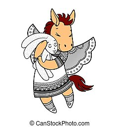 Lovely horse with wings in beautiful clothes with a plush rabbit in the paws.