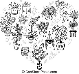 Lovely houseplants in heart shape. Hand-drawn monochrome plants in pots. Vector illustration. Natural design elements can be used for postcards, banners, websites or ads.