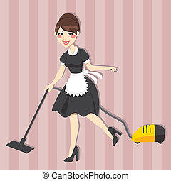 Lovely Housewife Maid - Lovely housewife with vintage maid...