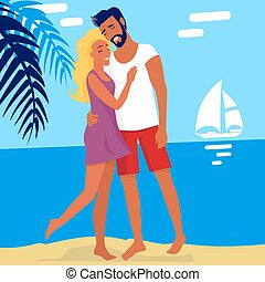 Lovely Hugging Couple Isolated on Summer Beach