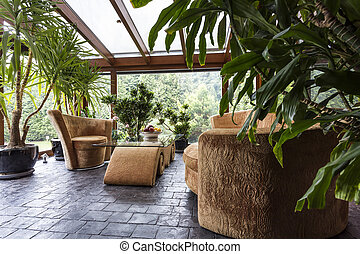 Lovely interior garden with comfortable furniture